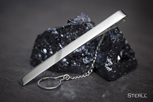 STERLL Pince à cravate en argent avec une boite à bijou, idéale comme cadeau pour homme