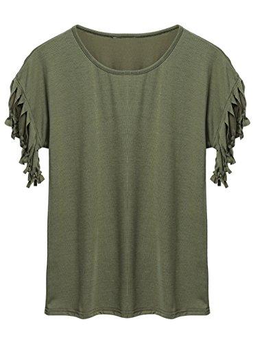 Teamyy Nuevo De las mujeres borlas Corto Manga Suelto Camiseta Verano Casual Tops Blusa Verde