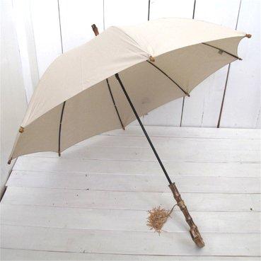 松野屋 日本製 晴雨兼用 レディース 長傘 雨傘 タッセル付 ベージュ B01N9ZR6RM