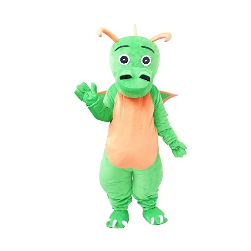 CosplayDiy Unisex Lovely Green Dragon Cartoon Character Mascot Costume S -