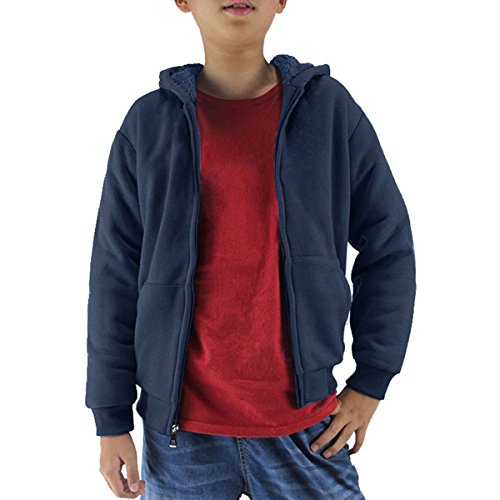 Fleece Lined Hoody - Youth Full Zip Sherpa Lined Fleece Hoodie For Boys Winter Warm Outdoor Sweatshirts With Pouch Pocket (Navy, 10)
