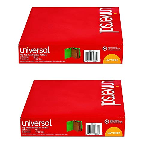 Universal 10302 Pressboard Classification Folders, Letter, Six-Section, Emerald Green (Box of 10), 2 Pack ()
