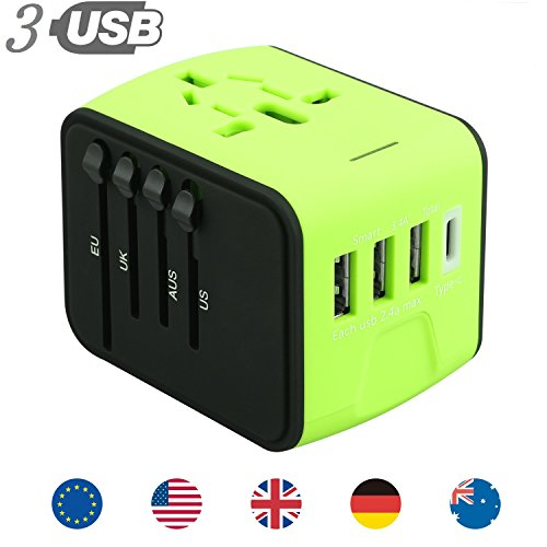 All in One Universal USB Travel Power Adapter 3 USB Port Type-C International Wall Charger Worldwide AC Power Plug 8 Pin AC Socket Multi-Nation Travel UK, EU, AU, Asia Over 200 Countries by JYDMIX