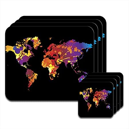 World Map Modern Art Set of 4 Placemat & Coasters