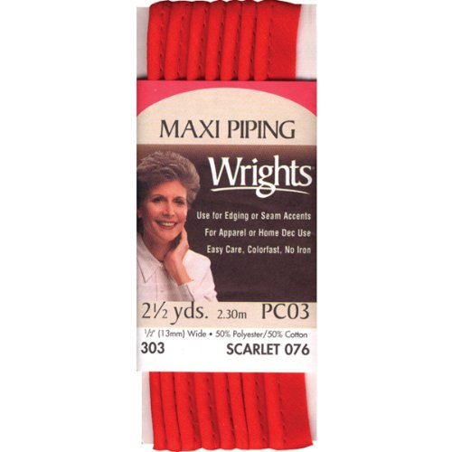 Wrights 117-303-076 Maxi Piping Bias Tape, Scarlet, 2.5-Yard