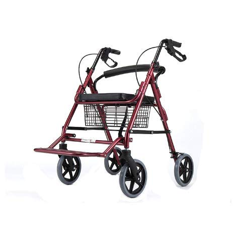 PXSRANY Andador De Aluminio Plegable Rojo 4 Ruedas - Andador ...