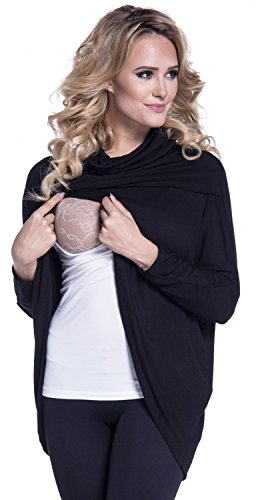 Happy Mama. Womens Maternity Nursing Wrap Top Thin Knitwear Double Layer. 370p (Black, US 10/12, L)