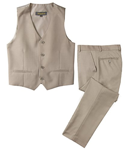 Spring Notion Big Boys' Two Button Suit Tan 08 Vest and Pants Big Kids Tan Apparel