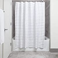 Cortina de ducha de tela de smoking InterDesign, 72 x 72, blanco
