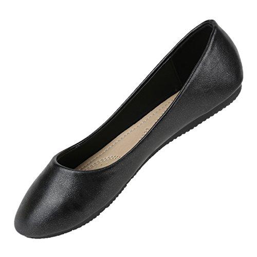 Stiefelparadies Klassische Damen Ballerinas Flats Leder-Optik Lack Metallic Schuhe Glitzer Slipper Slip Ons Übergrößen Abiball Flandell Schwarz Metallic