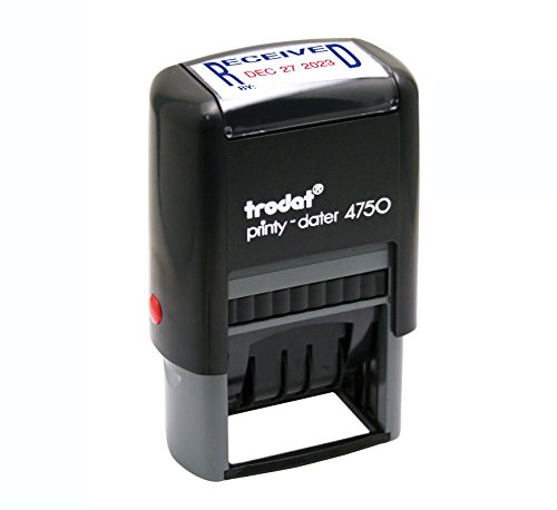 (Trodat E4752 Printy 4750 Economy Stamp, Dater, Self-Inking, 1 5/8 x 1 Inches, Blue/Red)