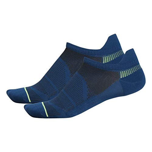Blue No Show Socks - adidas Men's Superlite Prime Mesh Tab No Show Socks (2-Pack), Legend Marine Blue/Hi - Res Yellow/Black, 6-12