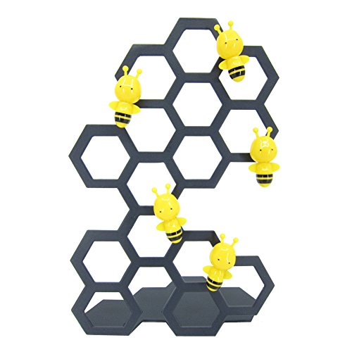 Bee Magnet (Bee Shaped Magnets with Stainless Steel Stands, Magnetic Memo Photo Holder, Desk Table Display, Whiteboard Refrigerator Magnet, 5.95 inch (Black))