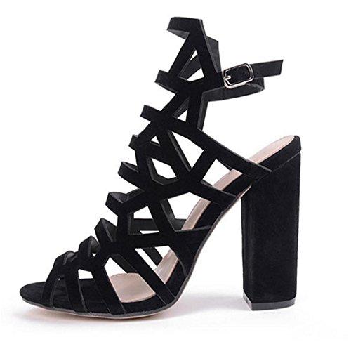 HETAO personalità Womens Open Toe Spitz Zehe Schuhe Faux Suede High Heels Pumps Gladiator Sandale Strappy Party Hochzeit Bankett Geschenk Des Mädchens Black