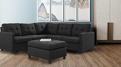 DAZONE Modular Sectional Sofa Assemble 6-Piece Modular Sectional Sofas Bundle Set Cushions, Easy to Assemble Left & Right Arm Chair,Corner Chair, Armless Chair, Ottomans Table Charcoal ()