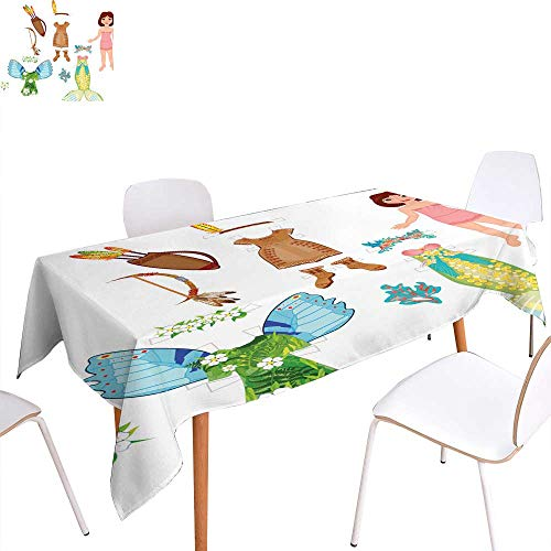 (longbuyer Table Cover Paper Doll with Costumes Rectangle/Oblong W 50