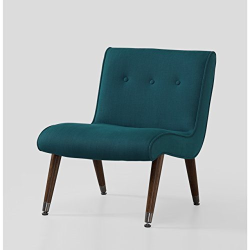 ModHaus Mid Century Accent Chair Teal Upholstery Arm Less | Espresso Solid Wood Legs Indoor Includes ModHaus Living (TM) Pen