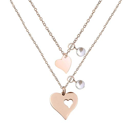 Heart Wire Gold (BNQL Rose Gold Mother Daughter Heart Cutout Necklace Set with Pearl (Cutout 1 Heart Necklace))