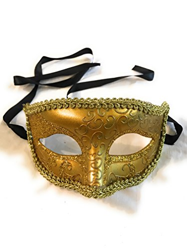 The Mardi Gras Krewe Mardi Gras Mens Masquerade Party Costume Mask (Gold) for $<!--$9.99-->