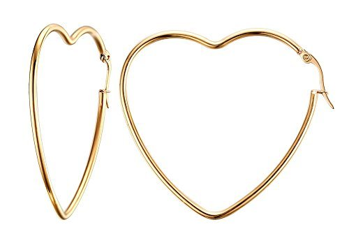 (HUANIAN Women's Stainless Steel Gold Plated Heart Shape Hinged Large Hoop Earring,Anti-allergy)