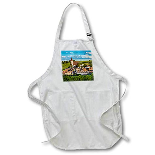 3dRose Danita Delimont - Vineyards - Town of Hunawihr along the wine route, Alsace Haut Rhin, France - Medium Length Apron with Pouch Pockets 22w x 24l (apr_277369_2) -