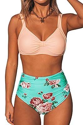 CUPSHE Women's Floral Halter High Waisted Peach and Tiffany Blue Bikini