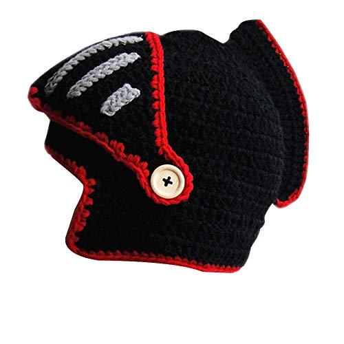 Yosang Windproof Ski Mask Warm Knitted Beanie Hat Cap (Black knight style)