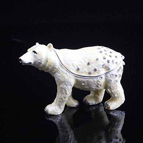 Box Trinket Bear - White Bear Handmade Jeweled Metal Trinket Box Animal Shaped Pill Box