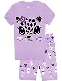 Girls Pajamas Children Kids Cat Sleepwear 100% Cotton Short Set