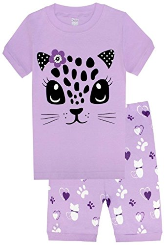 (shelry Girls Pajamas Children Kids Cat Sleepwear 100% Cotton Short Set Size)