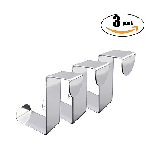 Double Face Mobile Bookcase (Over Door Hooks,Double Faced Heavy Stainless Steel, Door Frame, Cabinet, Drawer Save Space,For Kitchen, Bedroom, Office, Living Room, Bathroom, Towel Hat Rack (3 Pack))