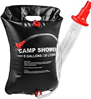 VABNEER Camping Shower Bag, 20L Solar Shower Bag with Removable Hose & On-Off Switchable Shower Head &