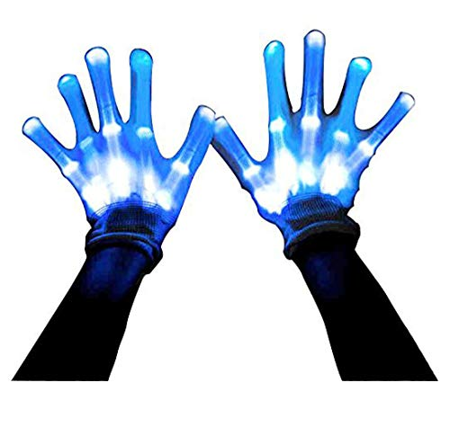 LIZAIDA MENENDEZ LIQING Stage Show Gloves Novelty Led Skeleton Gloves 12 Color Changeable Light Up Shows Halloween Costume