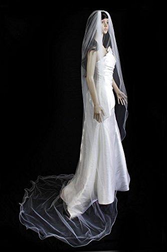 - Wedding Veil Bridal Bride White One Tier Cathedral Nylon Filament Edge Tulle