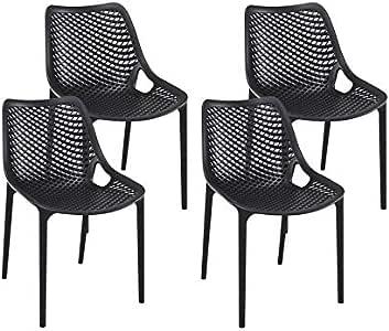 resol set de 4 sillas de diseño Grid para interior, exterior, jardín - color negro: Amazon.es: Jardín
