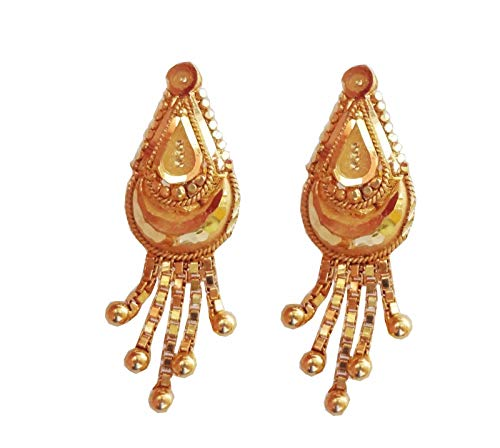 Satfale Jewellers Certifed New Beautiful Solid 22K Yellow Fine Gold Oval Shape Indian Handmade Earrings
