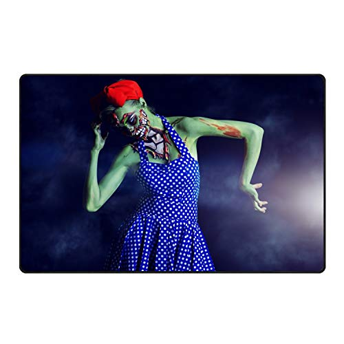 stahhn Doormat Entryway Door mat Halloween Makeup Zombie for Patio Front Door Decorative All-Season 60x39 in