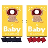VictoryStore Cornhole Games - Gender Reveal Cornhole Game - A Baby is Coming Yellow Design (Dark Skin)