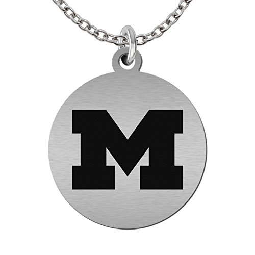 College Jewelry Michigan Wolverines Round Stainless Steel Necklace (22in Chain)
