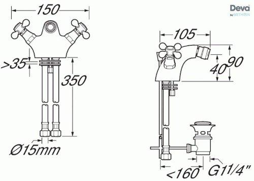Deva TUD114//501 Mezclador dorado tap/ón de drenaje con elevador Tudor Grifo de bid/é