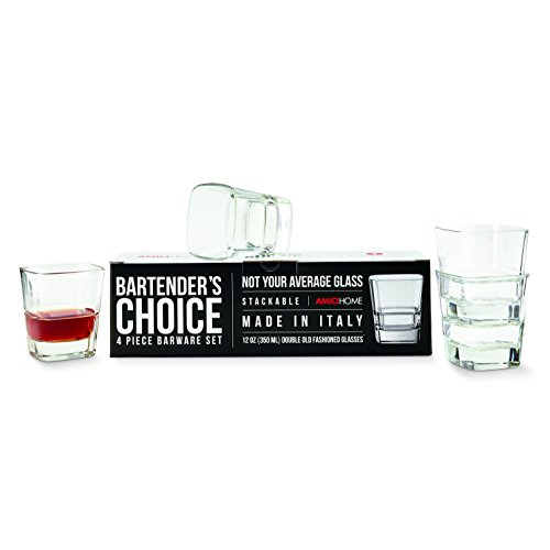 Amici Bartender's Choice Palladio Quadro Double Old Fashioned Glass, 12 oz. - Set of 4