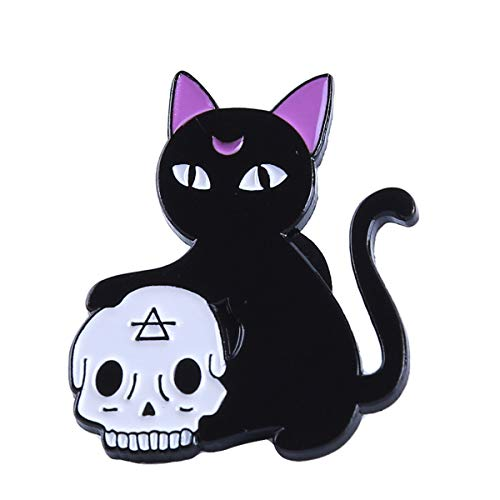 Beiswe Creative Enamel Brooch Pins Halloween Death Badge Potion Cat Skull Candle Witch Crystal Ball Clothing Brooch for Female Children (Cat) for $<!--$2.34-->