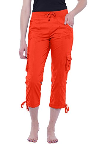 - Alki'i Women's Elastic Waist Drawstring Cargo Capri with Adjustable Length 2141 Coral L