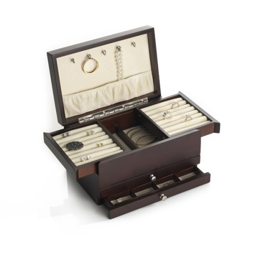 Amazoncom Wallace Dark Walnut Expandable Compartment Jewelry Box