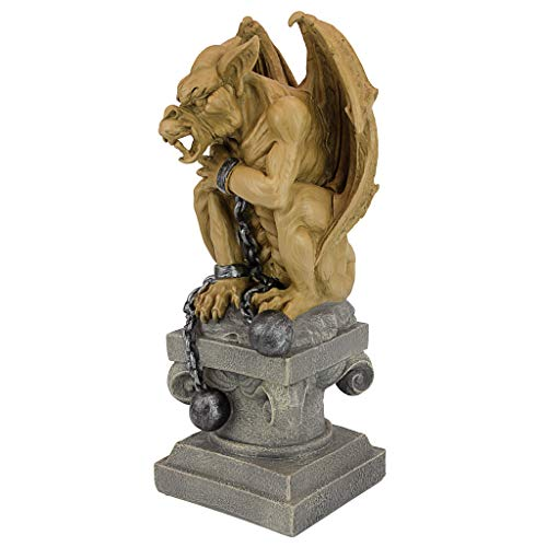 Gargoyle Ball - Design Toscano Ball-And-Chain Dungeon Gargoyle Gothic Statue, 15 Inch, Polyresin, Two Tone Stone