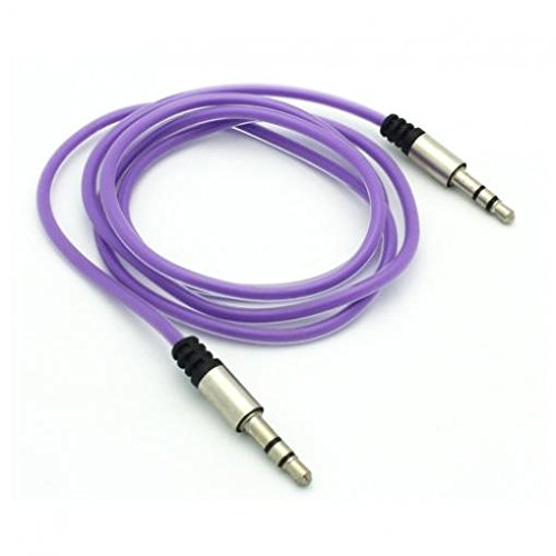 Purple Aux Cable Car Stereo Wire Audio Speaker Cord 3.5mm Aux-in Adapter Auxiliary for iPod Nano 5th, 7th Gen - iPod Touch 1st, 2nd, 3rd, 4th, 5th Generations - Huawei Mate 10, P10, P9 -