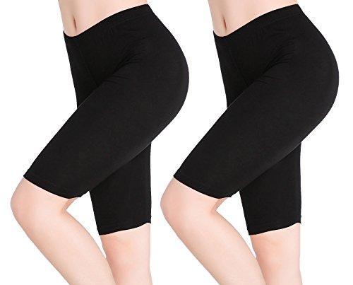 CnlanRow Womens Under Skirt Pants Soft Stretch Knee Length Leggings Fitness Sport Shorts,Large,2-pack:2x Black Plain