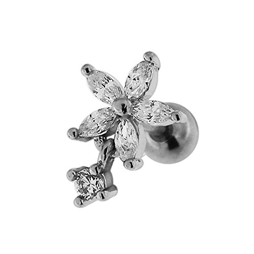(Daisy Flower with Star CZ Stone 16 Gauge 316L Surgical Steel Tragus Cartilage Helix Piercing)