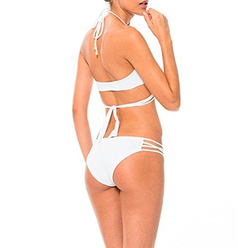 Y&L la Mujer Halter con cuello en V Bikini Conjuntos de Sujetador Acolchado de las Niñas de Vacaciones de trajes de baño Trajes de baño Blanco