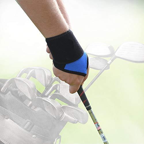 Munequera de lujo para GOLF (Azul Real) sostiene la muneca firme, recta y fuerte apoya la base del pulgar mejorando el agarre Sin sudor, hipoalergenico sin alergia, enfriamiento del flujo de aire No contiene neopreno o latex Talla unica, L o R intercambiables Unisexe